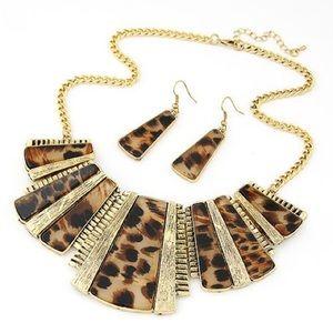 Leopard print metal necklace&earrings